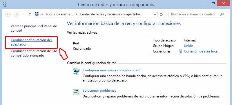 cambiar configuracion del adaptador  - Sistemas Alternativos